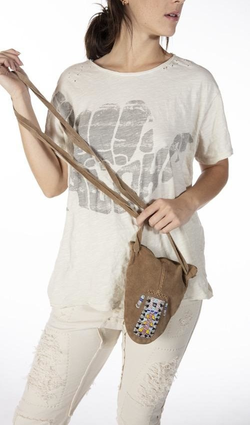 Specialty Hand Beaded All Leather Totem Bag with Hand Stitched Details and Adjustable Leather Ties, Magnolia Pearl