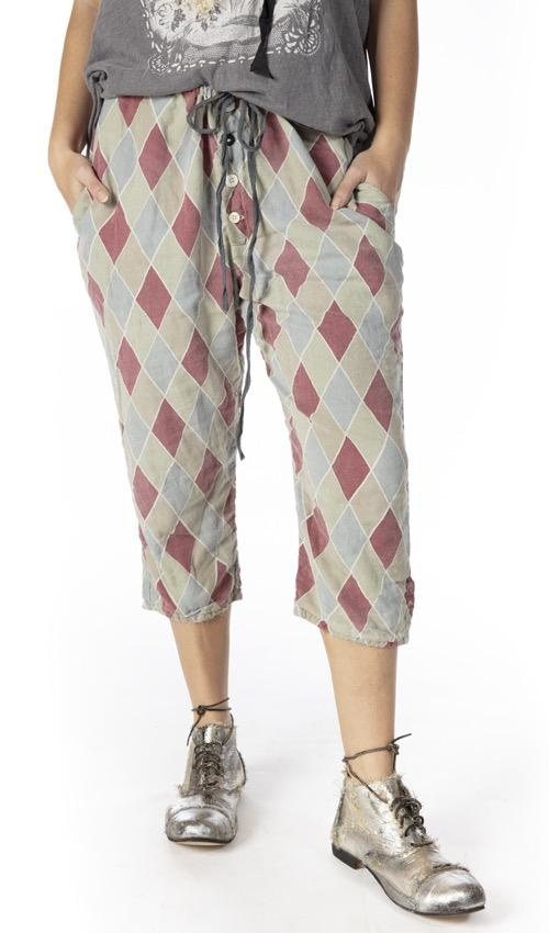 European Cotton Pitre Suit Pants with Adjustable Button Waist and Drawstring Waist, Fading and DIstressing, Magnolia Pearl