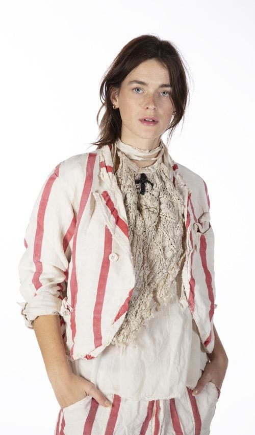 Cotton Linen Fredina Suit Jacket with Small Front Pockets, Buttons Down Front, Fading and Distressing, Magnolia Pearl