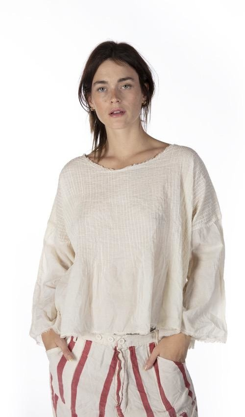 European Cotton Pintuck Torvy Blouse with Keyhole Neck and Raw Edges, Magnolia Pearl