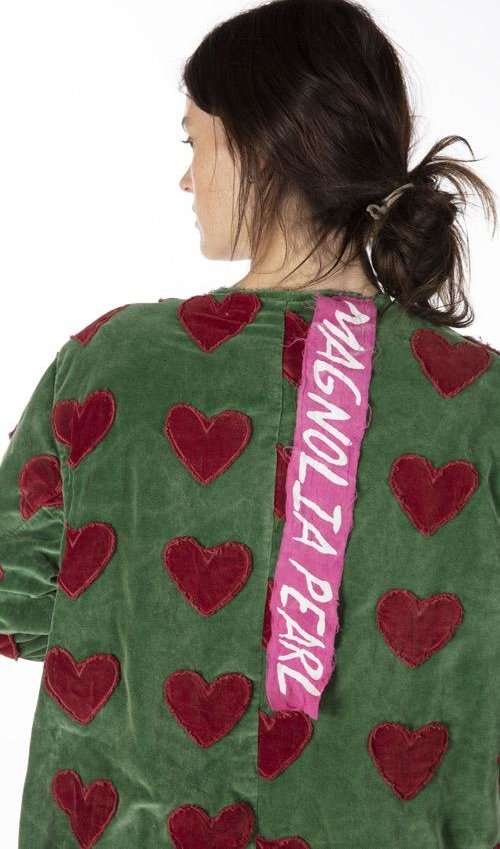 Cotton Velvet Heart Applique Emery Coat with Hand Mending, Patching, Mixed Buttons and Raw Edges, Magnolia Pearl