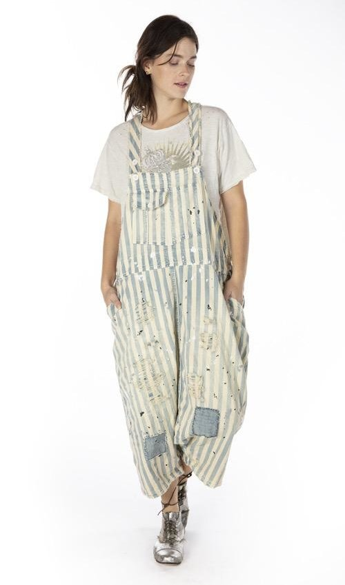 Cotton Denim Frankie Overalls with Hand Age, Patching, Distressing and Mending, Magnolia Pearl