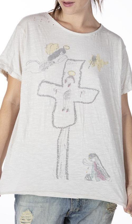 Cotton Jersey Lumen Christi T, Boyfriend Cut, Magnolia Pearl
