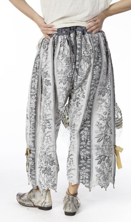 European Linen Vesper Bloomers with Drawstring and Side Button Waist, Fading and Distressing and Bell Accents, Magnolia Pearl