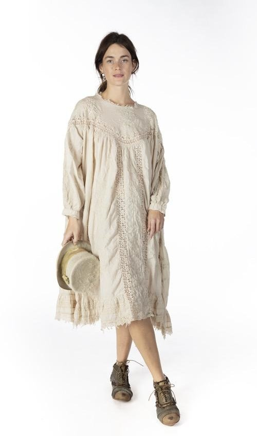 European Cotton Embroidered Irunka Dress with Lace Details and Raw Edges, Sleeve Openings, Distressing and Fading. Magnolia Pearl