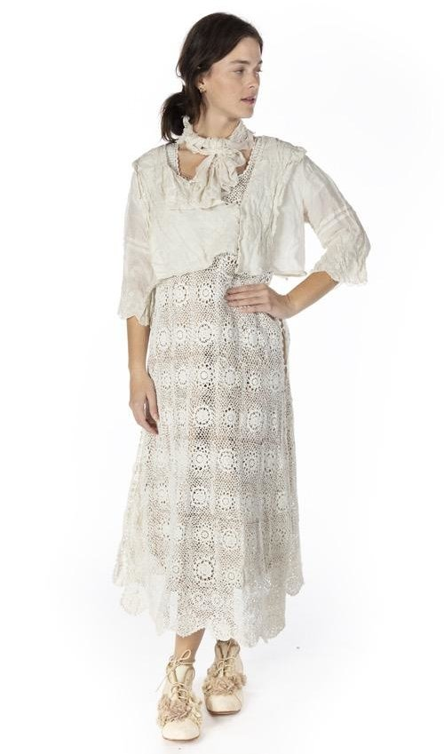 Hand Crochet Robina Lace Dress with Open Detail at Side, Magnolia Pearl