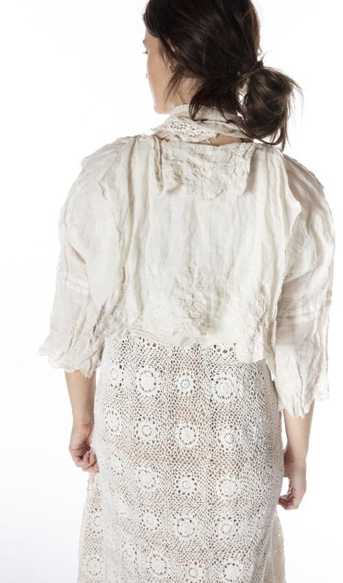 Linen Ramie Embroidered Grete Cropped Blouse with Snaps Down Front and Raw Edges, Magnolia Pearl, Moonlight, One Size