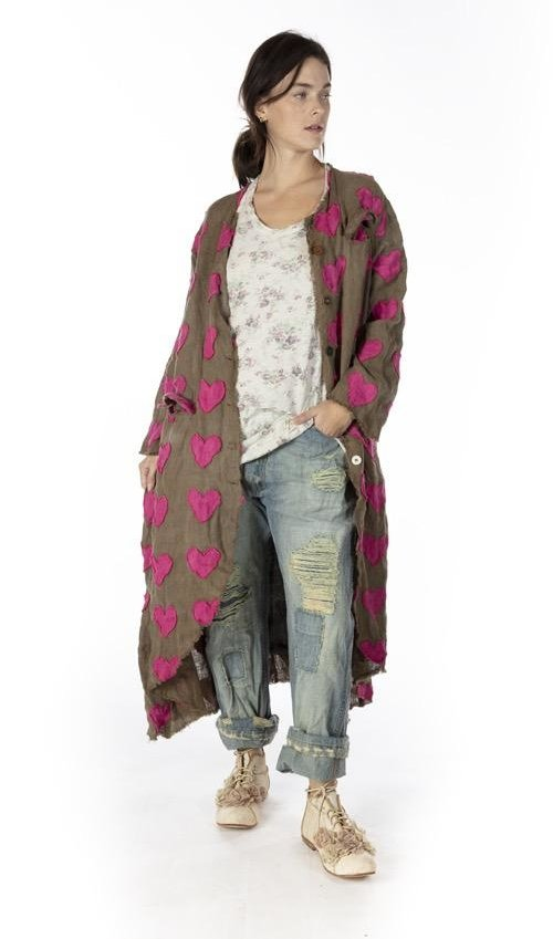 European Linen Heart Applique Emery Coat with Hand Mending, Patching, Mixed Buttons and Raw Edges, Printed Lining, Magnolia