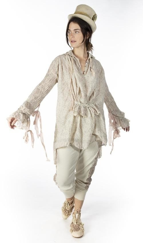 European Cotton Hand Block Print Amadeus Top with Pintucks, Buttons, Cotton Silk Ties and Raw Edges, Magnolia Pearl