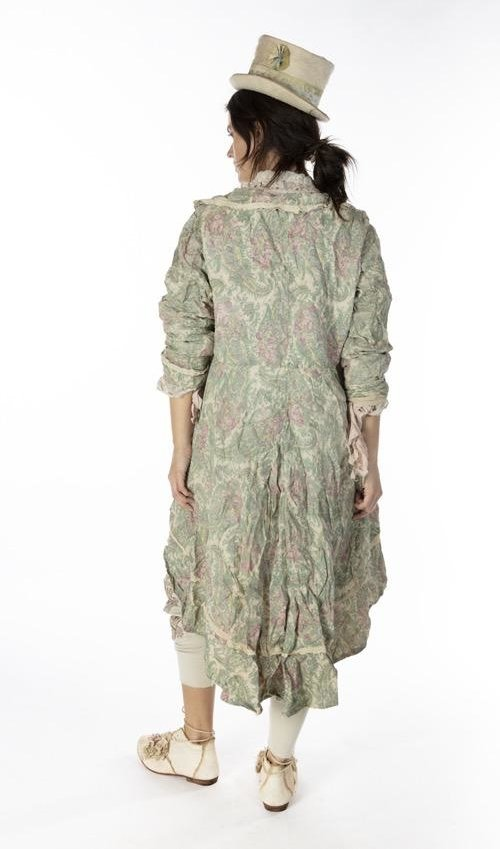 Cotton Silk and Twill Floral Lyudmila Jacket with Cotton Lace Details, Distressing and Patching, Magnolia Pearl