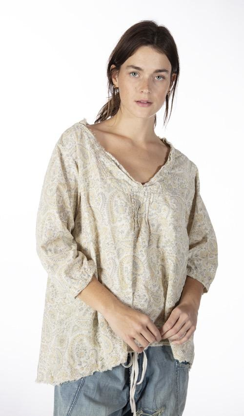 European Cotton Hand Block Printed Bondi Blouse with Raw Neck and Pleats, Button Opening at Sleeves, Magnolia Pearl