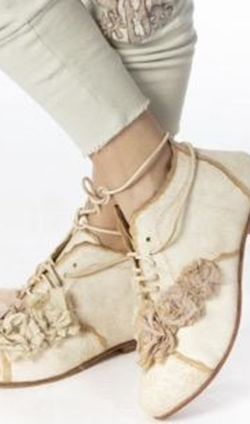 All Leather Dianthus Shoes with Handmade Tattered Cotton Silk Flowers and Leather Laces, Magnolia Pearl