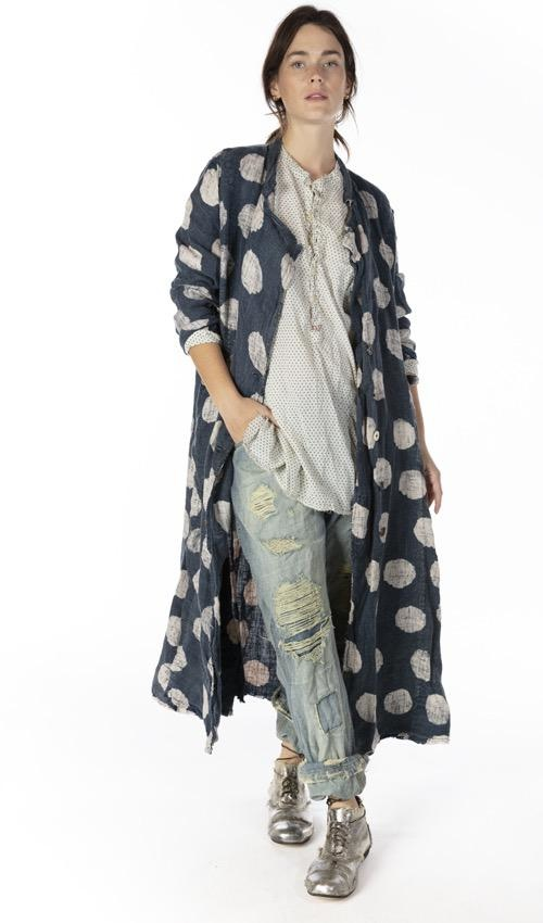 European Linen Claudette Duster with Buttons Down Front, Pockets, Hand Distressing and Fading, Magnolia Pearl