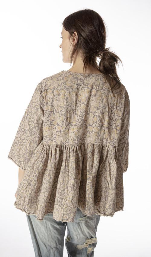 European Cotton Hand Blockprint Ojai Blouse with Antique Hooks and Raw Edges, Magnolia Pearl