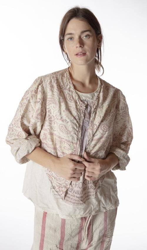 European Cotton Hand Block Print Luiza Jacket with Antique Hooks, Fading and Distressing, Magnolia Pearl