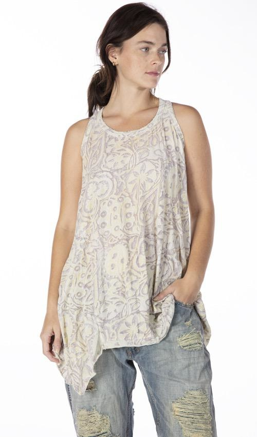 Cotton Jersey Hand Block Print Paz A Line Tank, Magnolia Pearl