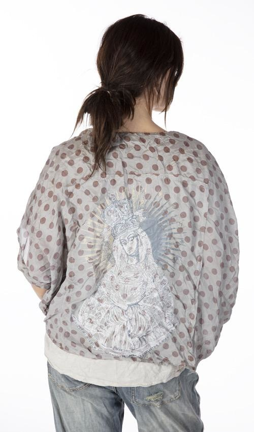 Silk Alva Layering Blouse with Hand Printed Back, Snaps at Neck, Hand Distressing and Fading, Magnolia Pearl