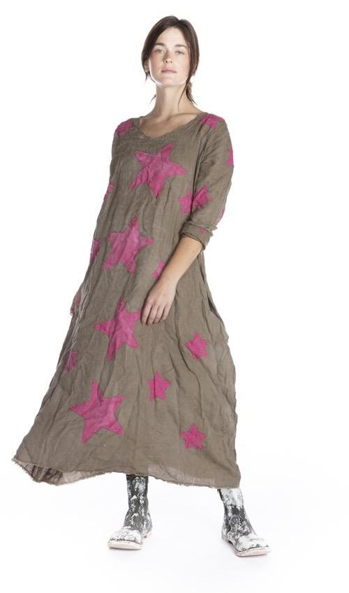 European Linen Cassiel Star Applique Dress with Raw Edges, Hand Distressing and Fading, Magnolia Pearl