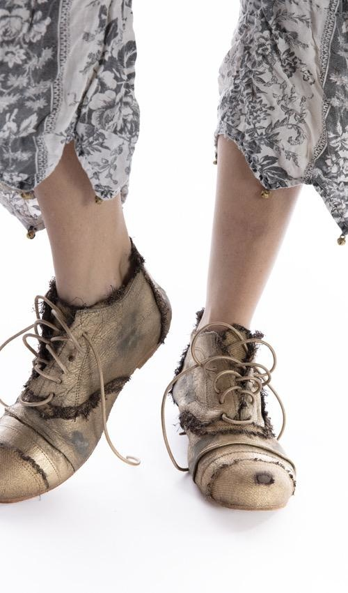 Linen and Leather Willard Tattered Shoe with Hand Distressing and Fading, Leather Sole, Magnolia Pearl