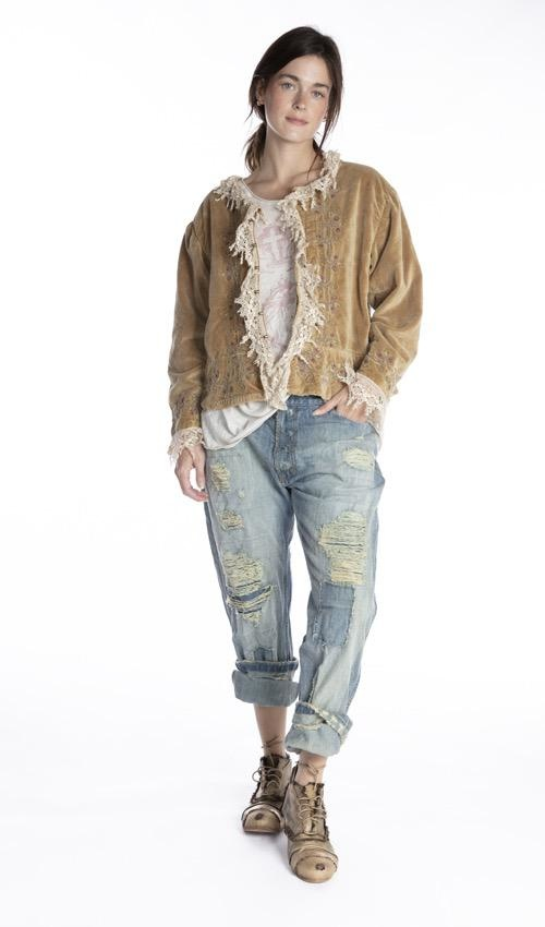 Cotton Velvet James Jacket with Tattered Lace Details, Embroidery, Antique Hooks and Block Print Lining, Magnolia Pearl