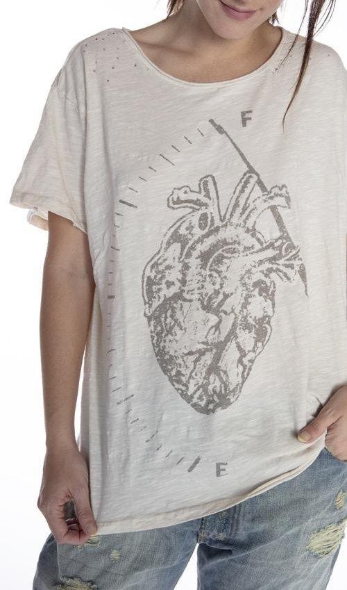 Cotton Jersey Full Heart T, Boyfriend Cut, Magnolia Pearl