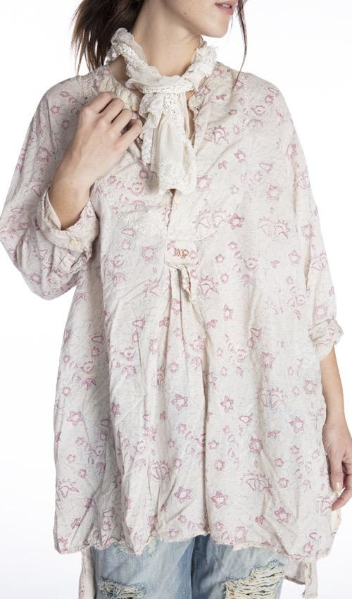 Cotton Hand Block Print Ines Classic Shirt with MP Cross Stitch, Magnolia Pearl