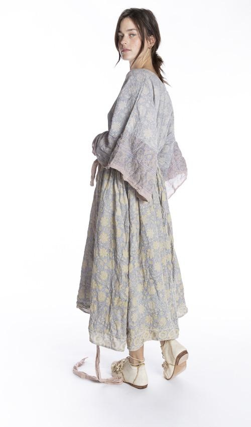 Cotton Satin Hand Block Print Hera Gathered Waist Dress with Waist Tie, Hand Distressing and Fading, Magnolia Pearl
