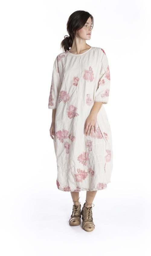Cotton Cisca Applique Floral Dress with Pleating, Hand Distressing and Fading, Snaps At Back, Magnolia Pearl