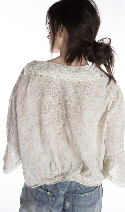 European Cotton Eyelet and Lace Block Print Maelee Blouse with Hand Sewn Antique Snaps and Hooks, Magnolia Pearl, Rani, One Size