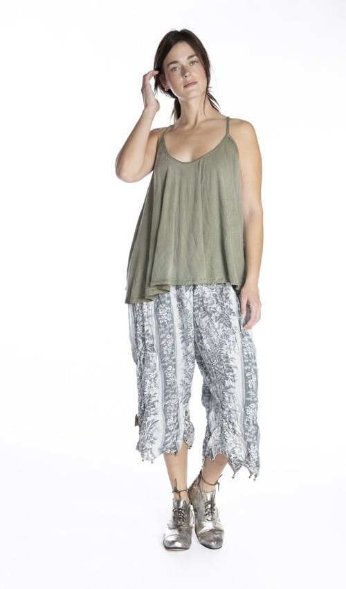 Cotton Jersey Indy Tank with Hand Distressing and Fading, Magnolia Pearl