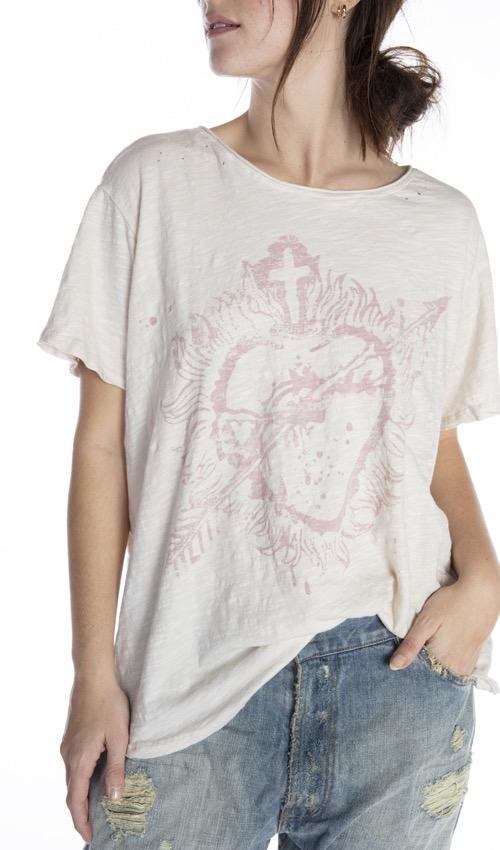 Cotton Jersey Sovereign Heart T, Boyfriend Cut, Magnolia Pearl