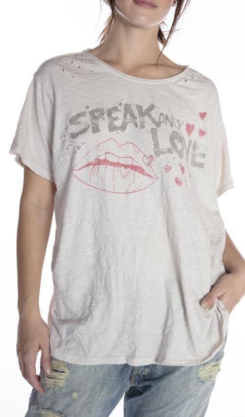 Cotton Jersey Speak Love T, Boyfriend Cut, Magnolia Pearl