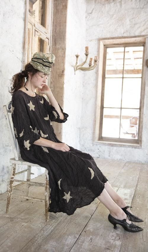 Cotton Twill Star and Moon Applique Merlina Dress with Hand Fading and Distressing, Magnolia Pearl