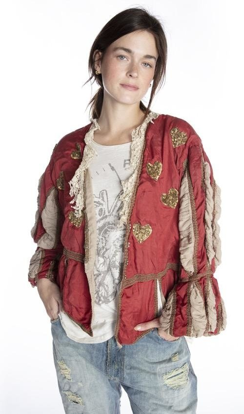 Hand Woven Silk Monique Jacket with Unique Hand Distressing Characteristics, Hand Sewn Sequins, Printed Lining, Gild Trim and Pleated Sleeves, Magnolia Pearl