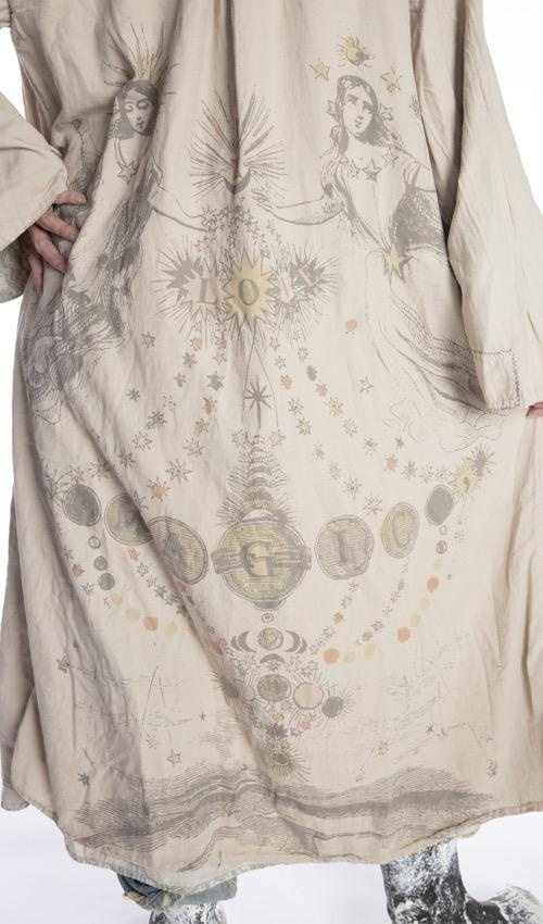 Cotton Satin Hand Block Print Cyrene Jacket with Hand Mending, Patching, Distressing and Fading, Cotton Twill Printed Lining,  Magnolia Pearl