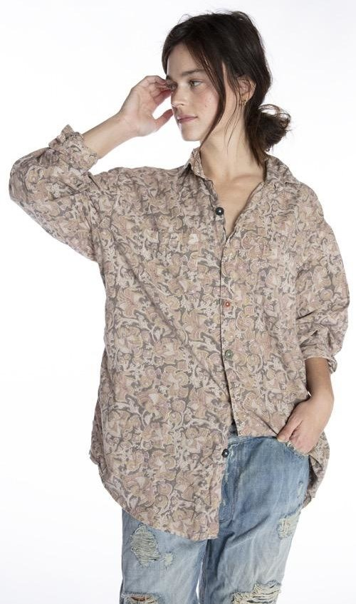 European Cotton Boyfriend Shirt with Mixed Buttons, Fading and Distressing, Magnolia Pearl