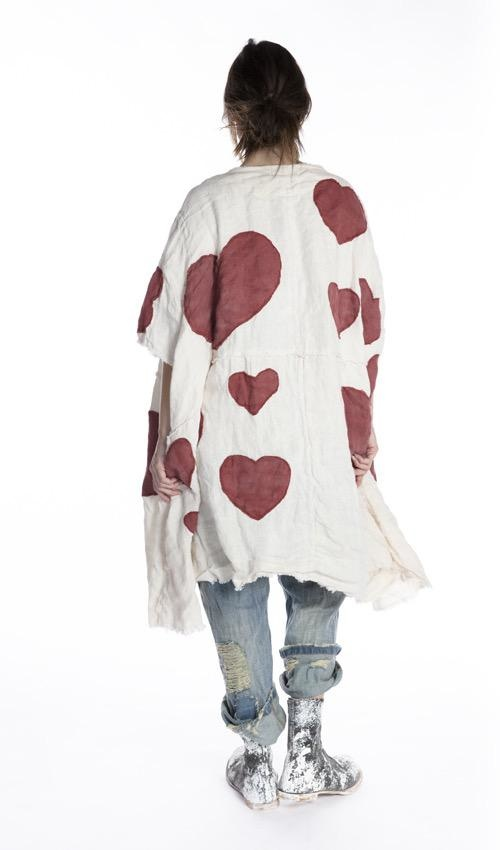 European Linen Heart Applique Kimi Koat with Raw Edges and Snaps at Neckline, Magnolia Pearl