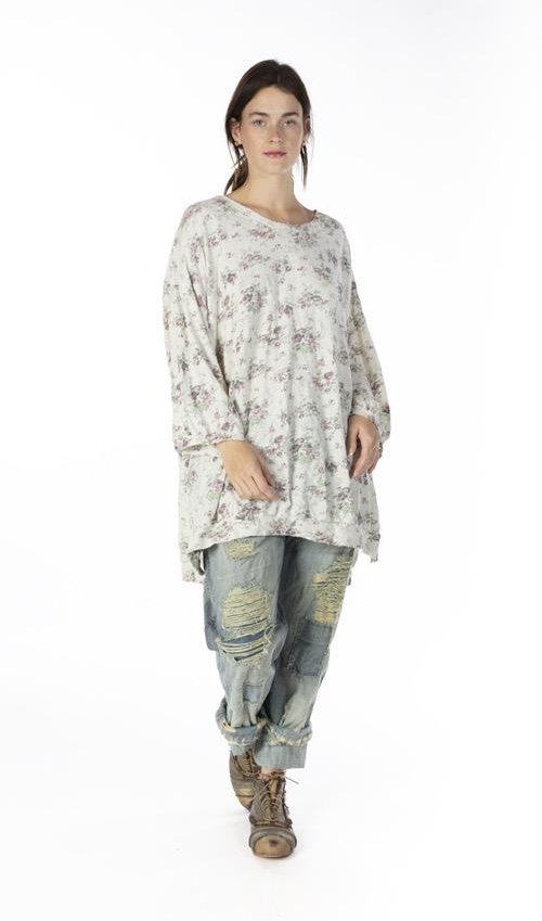 Cotton Jersey Oversized Floral Print Francis Pullover T with Distressing and Fading, Magnolia Pearl