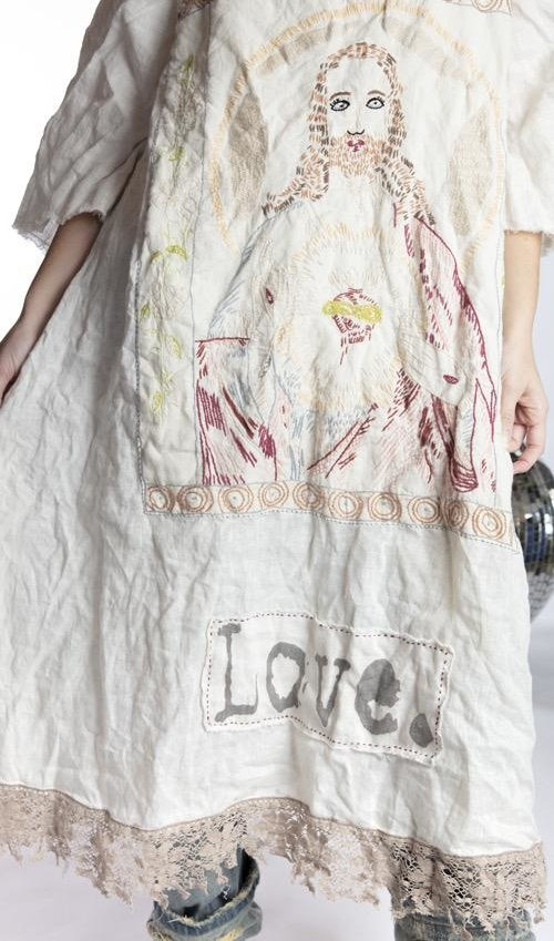 European Linen Junipero Jesus Dress with Hand Embroidery and Love Applique Patch, Tattered Lace and  Raw Edges, Magnolia Pearl