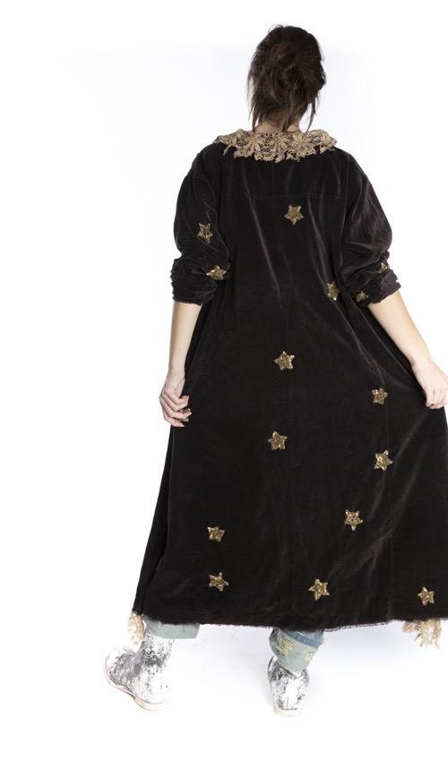 Cotton Velvet Sequin Star Applique Emery Coat with Hand Sewing, Antique Hooks and Tattered Lace Trim, Printed Lining, Magnolia Pearl