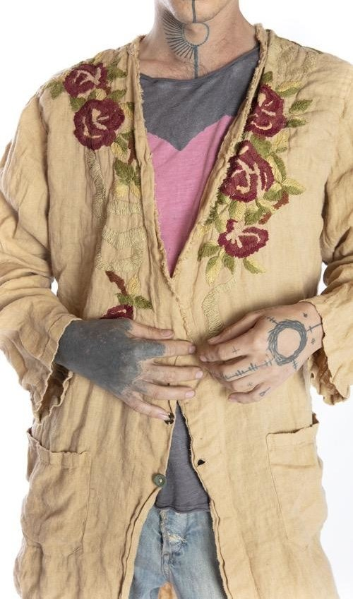 European Linen Embroidered Bethlehem Jesus Jacket with Hand Distressing, Fading and Pockets At Front, Magnolia Pearl