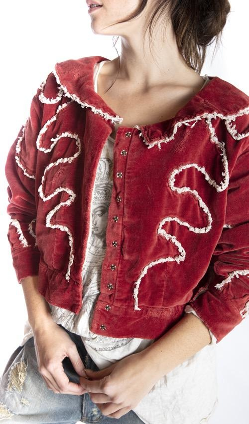 Cotton Velvet Oracle Cropped Coat with Tattered Lace Detailing, Distressing, Snaps Down Front  and Printed Lining, Magnolia Pearl