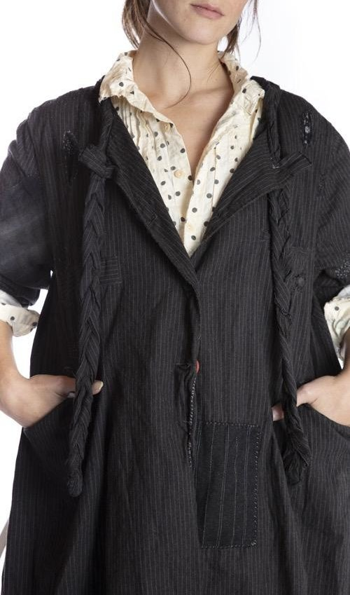 Brushed Cotton Phoenix Jacket with Hand Distressing, Fading, Mending, and Mixed Buttons, Pockets At Front, Magnolia Pearl