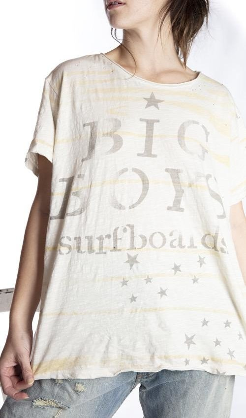 Cotton Jersey Big Boy Surf T, Boyfriend Cut, Magnolia Pearl