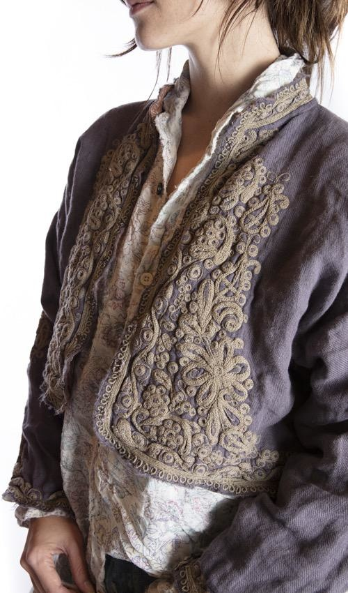European Linen Cropped Omayra Jacket with Ottoman Style Embroidery, Hand Distressing and Fading. Antique Hooks, Magnolia Pearl