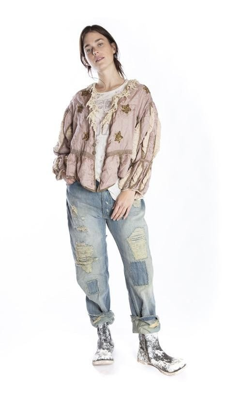 Silk Monique Jacket with Hand Sewn Sequins, Hand Distressing, Printed Lining, Gild Trim and Pleated Sleeves, Magnolia Pearl