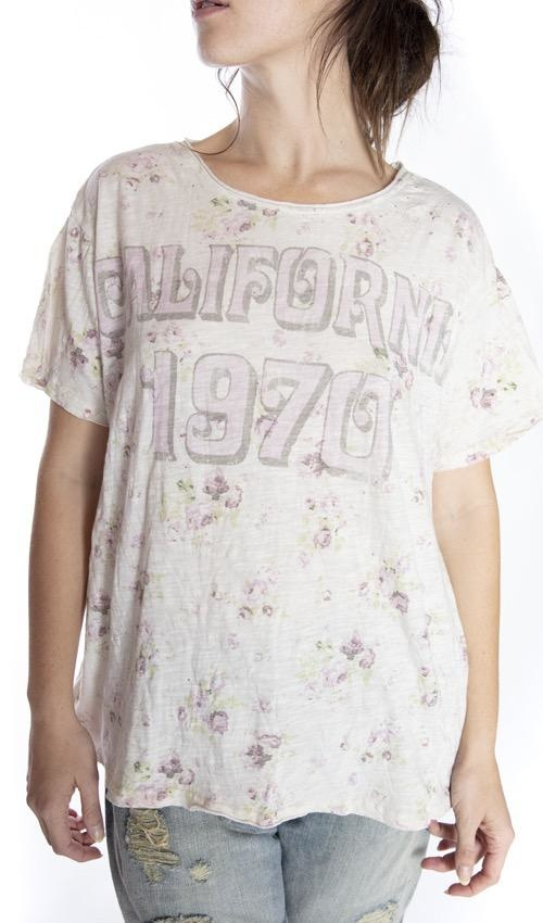 Cotton Jersey California 1970 T, Boyfriend Cut, Magnolia Pearl