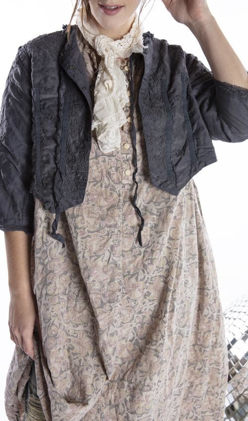 Cotton Silk Floral Embroidered Inna Jacket with Lace Details, Raw Silk Ties and Antique Hooks, Magnolia Pearl