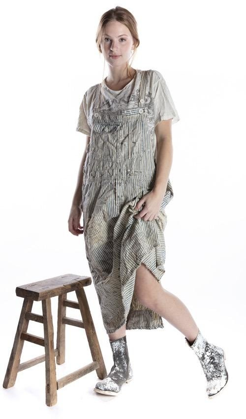 Cotton Denim Sanforized Overall Dress with Hand Distressing and Fading, Paint and Stains, Magnolia Pearl