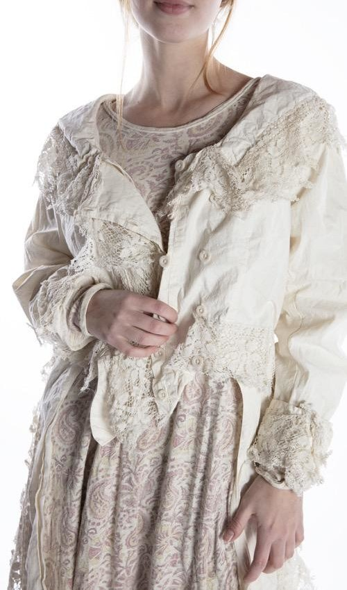 Cotton Poplin Lyudmila Jacket with Tattered Lace Details, Distressing and Buttons, Magnolia Pearl